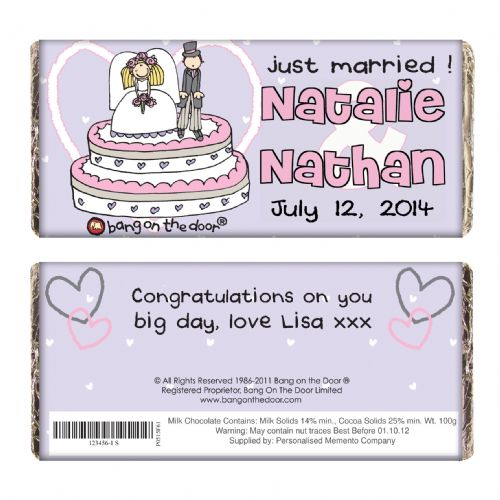 Personalised Bang on the Door Just Married Chocolate Bar